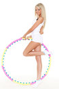 Woman With A Hula-hoop. Fitness. Royalty Free Stock Image - 29766196