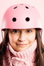 Funny Woman Wearing Cycling Helmet Portrait Pink Background Real Definition Stock Photo - 29774470