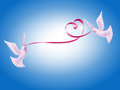 Pair Of Doves With Heart Royalty Free Stock Image - 29775836