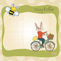 Easter Bunny With A Basket Of Easter Eggs Stock Photo - 29785840