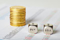 Financial Charts, Coins And Dice Cubes With Words Sell Buy. Sele Stock Photos - 29793123