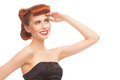 Pin-up Girl Looking Up Royalty Free Stock Photo - 29794565