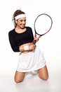 Fun, Happy Young Woman Ready To Play Tennis Stock Image - 29801391