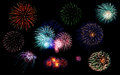 Colorful Fireworks Of Various Colors In Night Sky Stock Photos - 29807393