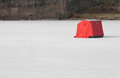 Ice Fishing Tent On Frozen Lake Stock Photo - 29813500