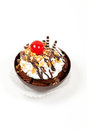 Dessert. Sundae Mousse Brownie Cup With Cherry Stock Photography - 29838292