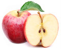 Red Apple With Leaf And Slice. Stock Photos - 29855723