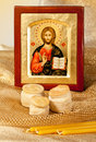 Icon Of Christ And Religion Bread  Hosts And Candles Royalty Free Stock Image - 29862376