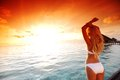 Woman In A Dress On Maldivian Sunset Royalty Free Stock Photography - 29880597