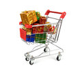 Shopping Cart With Christmas Gifts Stock Image - 29888091