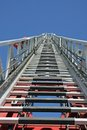 Steps To Heaven By A Fire Truck With The Autoscala In Raised Pos Royalty Free Stock Photo - 29895545