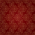 Floral Vintage Seamless Pattern On Red Background Royalty Free Stock Photos - 29909548