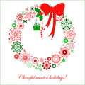 Stylized Christmas Wreath From Snowflakes Stock Image - 29922391
