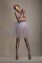 Seductive Woman In White Transparent Dress Tutu In Dramatic Pose. Dreams Stock Image - 29922751