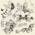 Set Of Filigree Butterflies With Ornament For Design Stock Image - 29924411
