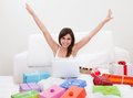 Young Woman Shopping Online Stock Image - 29927891