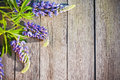Lupines On Wooden Background Stock Photos - 29932783