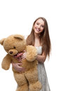 Girl Holding Soft Toy Bear Stock Photos - 29941133
