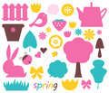 Cute Spring And Easter Colorful Design Elements Royalty Free Stock Images - 29960679
