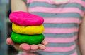 Colorful Play Dough On Hand Royalty Free Stock Image - 29971226