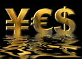 Word YES Written By Gold Symbols Of Yen, Dollar And Euro Royalty Free Stock Photography - 29974627