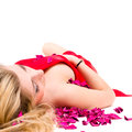 Sexy Woman In Red Dress With Rose Petals Stock Photography - 30002432
