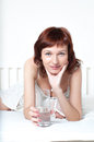 Young Woman With Glass Of Fresh Water Stock Images - 30004044