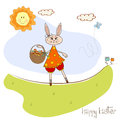 Easter Bunny With A Basket Of Easter Eggs Stock Photo - 30009190