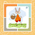 Easter Bunny With A Basket Of Easter Eggs Royalty Free Stock Image - 30009216