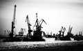 Silhouette Of Cargo Port Skyline With Cranes Stock Image - 30017361