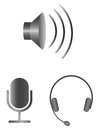 Simple Audio Icons Stock Photos - 30018153