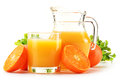 Composition With Glass And Jug Of Orange Juice On White Stock Image - 30021701