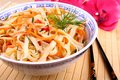 Asian Rice Noodle With Chicken Meat, Chopsticks Royalty Free Stock Photos - 30024728