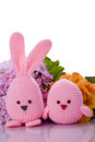 Pink Easter Bunny And Chick  With Flower Stock Photography - 30026262