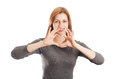 Young Woman Shows Fingers Human Heart As A Sign Of Love Stock Photography - 30028082