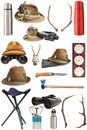 Collection Of Hunting And Outdoor Equipment Royalty Free Stock Photo - 30035915