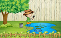 A Boy Fishing At The Pond Royalty Free Stock Photos - 30055998