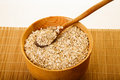 Oats In Wood Bowl On Bamboo Mat Royalty Free Stock Images - 30057639