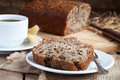 Banana Bread With Nuts With Cup Of Coffee Royalty Free Stock Photo - 30090805