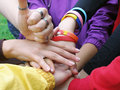 Happy Group Of Joyful Friends Raising Hands With Thumb Up Royalty Free Stock Photo - 30102075