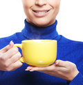 Portrait Of A Young And Happy Woman Holding A Cup Royalty Free Stock Images - 30104469
