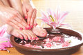 A Spa Composition Of Feet And Petals In A Bowl Stock Photos - 30107003