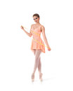 A Young And Fit Female Ballet Dancer In An Orange Dress Stock Photography - 30114802