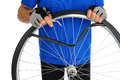 Cyclist Fixing Flat Tire Royalty Free Stock Images - 30147389