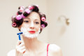 Beautiful Funny Girl Shaving With Foam & Razor Her Face Royalty Free Stock Images - 30150869
