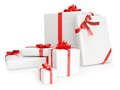 3D Render Of Gift Boxes With Yellow Ribbons Over W Royalty Free Stock Images - 30160199