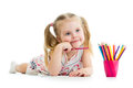 Kid Girl Drawing Pencils Stock Images - 30169324