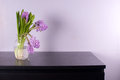 Purple Hyacinth In Glass Vase On Black Chest Stock Photography - 30188212