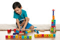 Clever Little Boy With Toys On The Floor Stock Images - 30192994
