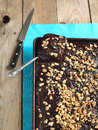 Homemade Chocolate Sheet Cake With Nuts Stock Photo - 30228630